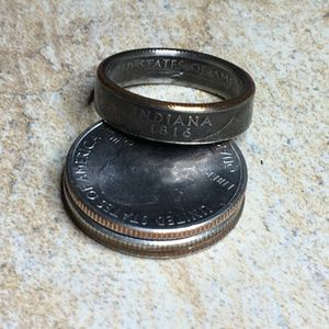 2002 Indiana State US Quarter Coin Ring Size 9.5